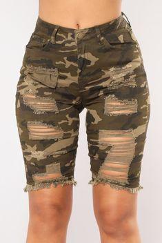 Available In Camo Bermuda Camo Print Distressed Frayed Hem High Rise Cotton Spandex Camouflage Shorts, Camo Shorts, Denim Shorts, Work Shorts, Fashion Nova Models, Ripped Denim, Camo Print, Hot Pants, Military Fashion