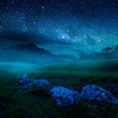 céu estrelado -  Cradle Mountain na Tasmânia, Austrália.