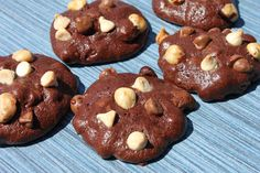 Gluten Free Chocolate-Hazelnut Cookies - These brownie like cookies are filled with 3 kinds of chocolate and toasted nuts