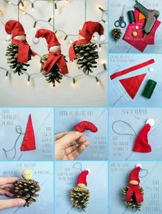 Dekorace Pine Cone Christmas Decorations, Diy Christmas Tree, Christmas Crochet Patterns, Christmas Sewing, Christmas Craft Projects, Holiday Crafts, Ornament Crafts, Xmas Ornaments, Theme Noel