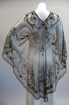 1910s Black and Gold Lame Threading Net Lace Shawl