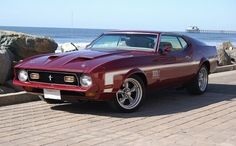 Maroon 1971 Ford Mustang Mach 1