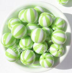 Chunky Watermelon 20mm beads Light Green Beach by SofiasCottage, $3.25
