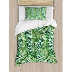 Leaf Luxury Bedding Set,Watercolor Print Botanical Wild Palm Trees Leaves Ombre Design Image,Duvet Covers Set Duvet Cover Bed Sheet Pillow Cases,Dark Green and Forest Green,King Pattern Palm Tree Leaves, Palm Trees, Palm Tree Bedding, Tropical Bedding, Ruffle Bedding, Quilt Sets, Leaf Design, New Room, Comforter Sets