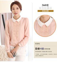 2016 primavera camisa de gasa de la camisa coreana de encaje de manga larga  delgada de color rosa muñeca cuello de la camisa de la gasa delgada Mujeres  ... 4f122d29ff8