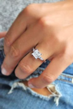 25 Gorgeous Engagement Rings To Get You Inspired: a white gold modern engagement ring with a square diamond and no halo looks bold and edgy #engagementring; #diamondring #EngagementRings #weddingringsgoldmodern