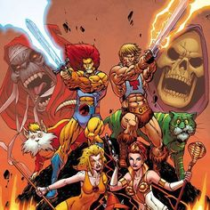 Thundercats and the Masters of the Universe.  Thundercats y los Masters del Universo.  #thundercats #mastersoftheuniverse #mástersdeluniverso #cats #thunder #masters #universe #universo #amos #metalhead #metalheads #television #series #retro #animation #greyskull #eternia #80s #heman #Skeletor by retroanimation