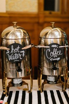 DIY Wisconsin Wedding by Valo Photography - Drink Station: Tea/Coffee/Hot chocolate - Fall Wedding Drinks, Coffee Bar Wedding, Brunch Wedding, Drink Station Wedding, Wedding Catering, Wedding Ideas, Wedding Reception, Rustic Wedding, Coffee Bridal Shower