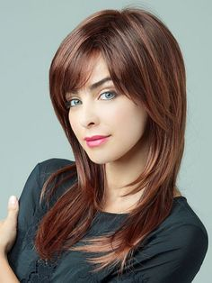 light chocolate cherry brown hair color for long shag hair
