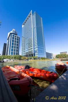 Kayaking on Kinder Lake at Discovery Green Park (only a block away)