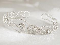 gold diamond bracelet - Solid gold filigree bracelet - Diamond cuff bracelet - White gold bangle - Delicate lace bracelet -Vine bracelet by HopeADesign on Etsy Lace Bracelet, Diamond Bracelets, Bracelet Sizes, Gold Bangles, Gold Filigree, 18k Gold, Solid Gold, White Gold, Bracelet Designs