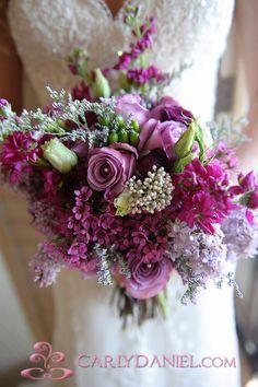 Bridal bouquet, tones of purple. Purple And Green Wedding, Purple Wedding Flowers, Bridal Flowers, Floral Wedding, Purple Lace, Wedding Colors, Wedding Ideas, Lavender Bouquet, Lily Bouquet