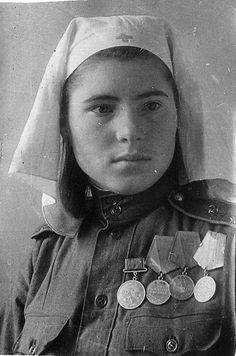 Soviet Lieutenant of medical service with bravery medals
