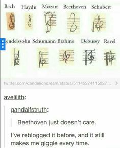 Beethoven is me trying to draw the treble clef, and then I retry six times before I get it right-ish.
