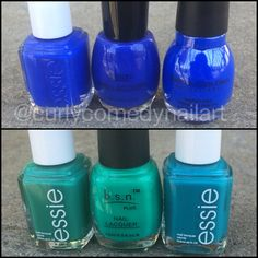 Comparison: drugstore blue and green (BSN) vs Essie and Sinful Colors