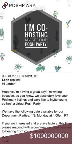 Party Time! {01-09-2017} I'm extremely excited to announce that I will be hosting my second Posh Party on January 9th, 2017. I will be firmly picking potential host picks as soon as I find out the theme. As for now, Of you'd like me to peek in your closet, please let me know in the comments. Please refrain from tagging me in your listings. Thank you 🎉☺ Other