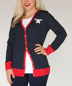 Another great find on #zulily! Navy & Red Captain America Cardigan - Women #zulilyfinds