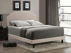 Awesome Hillsdale Lawler Upholstered Panel Bed W/ Rails In Cream