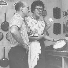Julia with her husband, Paul C. Child, whipping cream