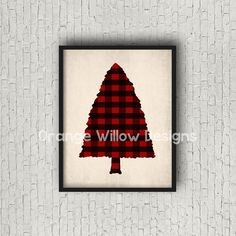 Buffalo check Red Black Pine Tree Christmas Tree Woodland Rustic Art Printable (366AOWD) Instant Download Red Black Plaid Christmas Tree Art by OrangeWillowDesigns on Etsy