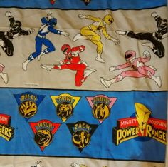 Mighty Morphin Power Rangers FITTED Twin Bed Sheet Vintage 1994 Fabric #Saban