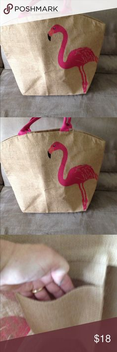"""Beach bag with pelican screen front and back Brand new-Beach bag with pelican screen front and back, burlap with plastic coating inside,  size 17""""X 21"""" at too, 7"""" Gusset, inside pocket. Shoulder straps. Will hold lots of towels, sunscreen and books and much more! New York & Company Bags Totes"""