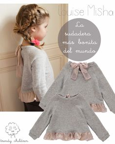 Louise misha ajouter volant ou znoeud a un pull ou tshirt Little Girl Fashion, Little Girl Dresses, Kids Fashion, Sewing For Kids, Baby Sewing, Kid Styles, Little Princess, Kids Wear, Diy Clothes