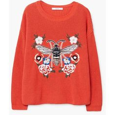 MANGO Recycled cotton embroidered sweater (290 PLN) via Polyvore featuring tops, sweaters, long sleeve sweater, round neck sweater, over sized sweaters, red oversized sweater i red sweater