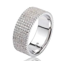 925 Sterling Silver Stack Ring Pave CZ Eternity Infinity Band 8MM Size8.25