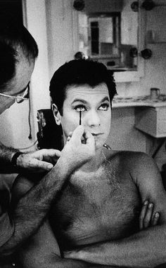Tony Curtis in makeup on the set of Some Like It Hot, 1959.