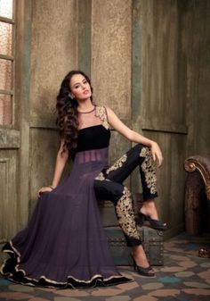 Most Beautiful Purple Net and Georgette Designer Anarkali Designer Anarkali, Latest Anarkali Suits, Salwar Suits, Salwar Kameez, New Suit Design, Fancy Dress Design, Pakistani Outfits, Indian Outfits, Indian Clothes