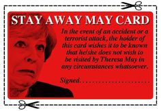 Stay Away May Card by Sketchaganda Theresa May Theresa May, Movie Posters, Cards, Film Poster, Maps, Film Posters