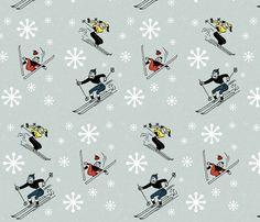 Tapete für Kinderzimmer.  Retro-Skiing fabric by kfrogb on Spoonflower - custom fabric