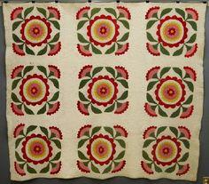 """C. 1900 American Applique quilt, 72 x 90"""", Schmidt's Antiques, Inc., Live Auctioneers"""