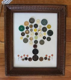 "8"" x 10"" Button Tree with Flowers in Wood Frame - Green, Yellow, Gold, Brown, Peach, For Sale on Etsy!"