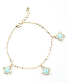 Loving this Gold & Turquoise Quatrefoil Anklet on #zulily! #zulilyfinds