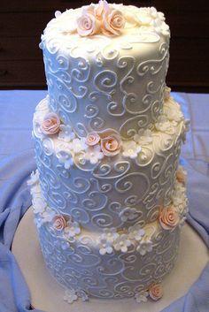 white swirls peach flowers wedding cake www.stephaniethebaker.com by stephanie the baker, via Flickr
