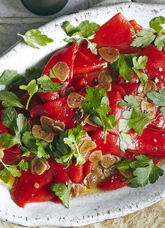 Piquillo pepper salad: Bring Spanish flavour to your entertaining with this easy recipe for a quick piquillo pepper salad. These sweet little chillies can be bought in jars and with a little sherry vinegar and parsley turned into a tapas dish. Easy Bbq Recipes, Easy Salad Recipes, Asian Recipes, Easy Meals, Cooking Recipes, Halloumi Salad Recipes, Vegetarian Salad Recipes, Best Appetizers, Appetizer Recipes