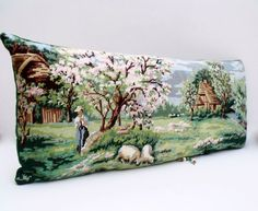 French Needlepoint Tapestry Pastoral Houles by Retrocollects £50 https://www.etsy.com/shop/Retrocollects
