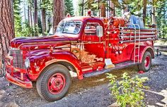 1940s fire truck, painted by John Derby