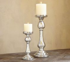 Kingsley Etched Mercury Glass Pillar Holders the small one is so pretty. maybe a pair of them or three as a collection? Mercury Glass Candle Holders, Pillar Candle Holders, Candlestick Holders, Candlesticks, Pillar Candles, Buy Candles, Candle Lanterns, Pottery Barn, Chandeliers