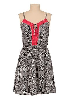 Tribal Print Tank Dress with neon lace trim (original price, $34) available at #Maurices