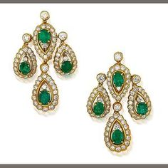 A pair of emerald and diamond pendent earrings, by Graff