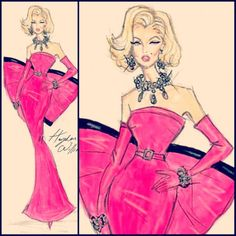 "Marilyn Monroe ""Gentlemen Prefer Blondes"" Diamonds Are A Girl's Best Friend Pink Dress Fashion Illustration by Hayden Williams"
