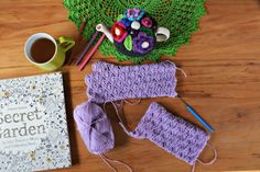 Lavender handwarmers - from free pattern here:  http://crejjtion.com/pattern/fingerless-gloves-2/