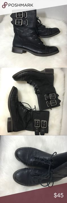 Lucky brand combat boot Great condition. Black leather combat boots by Lucky Brand Lucky Brand Shoes Lace Up Boots