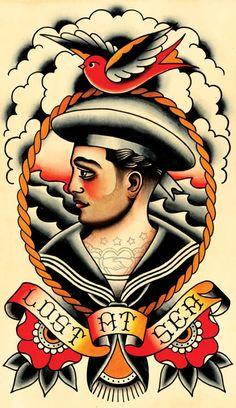 Vintage Sailor Lost at Sea Tattoo Flash Print by MissMartinTattoos - Ide Tattoos Old School Tattoo Designs, Tatoo Designs, Flapper Tattoo, Nautical Drawing, Rockabilly Mode, Rockabilly Tattoos, Tatuaje Old School, Sailor Tattoos, Sea Tattoo