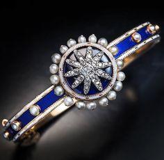 Antique Georgian Enamel Diamond Pearl Bracelet by RomanovRussiacom on Etsy https://www.etsy.com/listing/269029006/antique-georgian-enamel-diamond-pearl