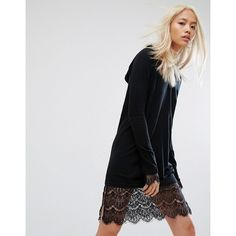 Noisy May Hooded Knit Lace Dress (€53) ❤ liked on Polyvore featuring dresses, black, tall dresses, hooded dress, scalloped hem dress, mixed print dress and noisy may