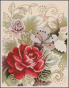 Необычная роза схема вышивки крестом